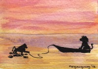 Life of Pi Series - Richard Parker played by a Lion, Pi played by a Baboon