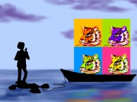 Life of Pi Series - Richard Parker played by a Warhol (esque) Pop Art four-square, Pi played by Andy Warhol