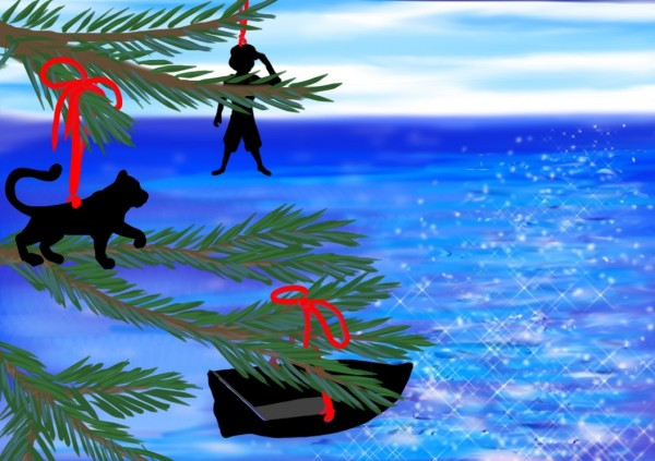 Life of Pi Series - Richard Parker played by a tiger ornament, Pi played by a Human ornament