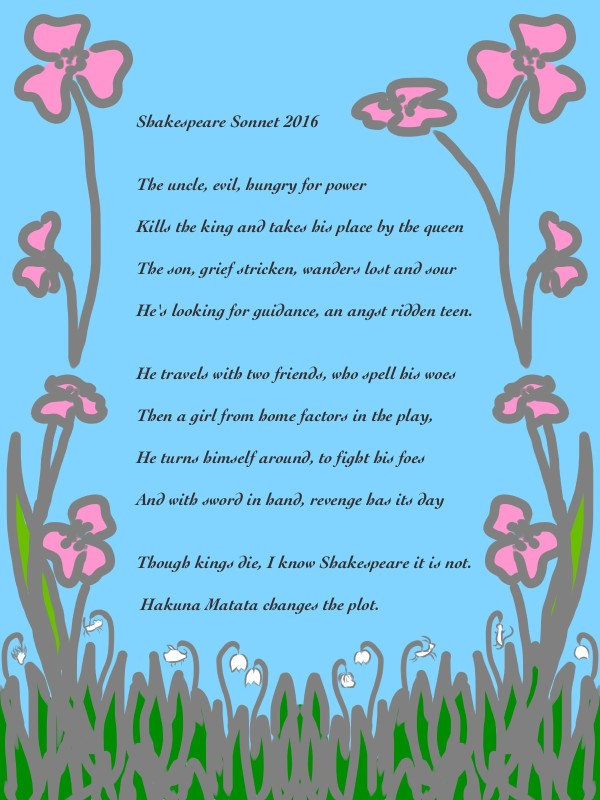 Shakespeare Sonnet 2016 by Meg Kirkwood